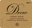 2012 - Drew Family Cellars - Anderson Valley Pinot Noir  Weir Vineyard
