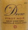 2012 Drew Family Cellars Yorkville Highlands Pinot Noir  Weir Vineyard